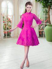 Great Fuchsia High-neck Neckline Lace Evening Dress 3 4 Length Sleeve Zipper