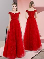 Custom Design Red Sleeveless Sweep Train Beading and Lace Prom Evening Gown