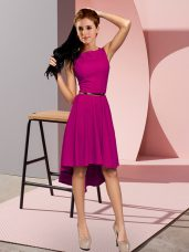 Sleeveless High Low Belt Lace Up Prom Party Dress with Fuchsia