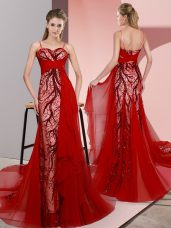 Colorful Red Lace Up Spaghetti Straps Beading and Lace Satin Sleeveless Sweep Train