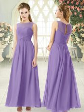 Wonderful Chiffon Scoop Sleeveless Zipper Ruching Prom Dresses in Lavender