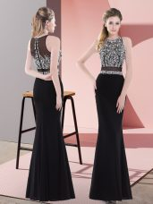 Graceful Black Chiffon Zipper Teens Party Dress Sleeveless Floor Length Beading
