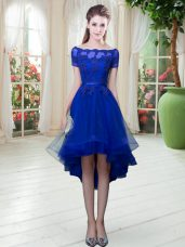 High Low A-line Short Sleeves Royal Blue Evening Dress Lace Up