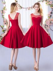 Fantastic Knee Length Red Court Dresses for Sweet 16 Scoop Sleeveless Zipper