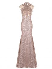 Edgy Pink Sleeveless Floor Length Ruching Prom Party Dress
