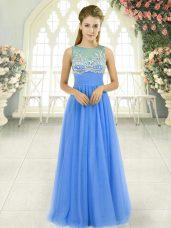 Super Blue Tulle Side Zipper Homecoming Dress Sleeveless Floor Length Beading