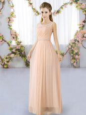 Cheap Peach Scoop Neckline Belt Bridesmaid Gown Sleeveless Lace Up
