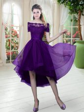 Off The Shoulder Short Sleeves Prom Party Dress High Low Lace Purple Tulle
