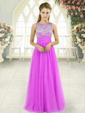 Adorable Scoop Sleeveless Prom Dresses Floor Length Beading Lilac Tulle