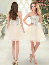 Ideal Mini Length Champagne Prom Gown Tulle Sleeveless Beading