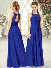 Chiffon Scoop Sleeveless Backless Lace Prom Party Dress in Royal Blue