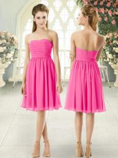 Custom Fit Pink Empire Ruching Prom Party Dress Zipper Chiffon Sleeveless Knee Length