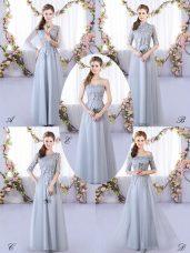 Grey Sleeveless Appliques Floor Length Court Dresses for Sweet 16