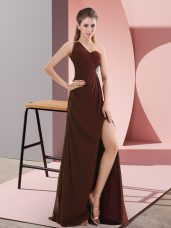 Empire Sleeveless Burgundy Evening Dress Sweep Train Backless