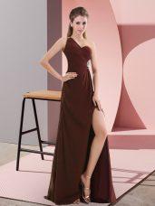Empire Sleeveless Burgundy Evening Dress Sweep Train Backless