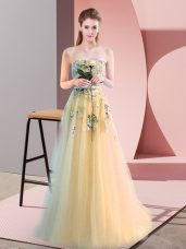 Ideal Light Yellow Tulle Lace Up Sweetheart Sleeveless Floor Length Prom Evening Gown Appliques