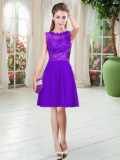 Purple Satin Zipper Prom Gown Sleeveless Knee Length Lace