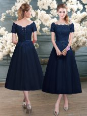 Navy Blue Short Sleeves Tea Length Lace Zipper Prom Party Dress