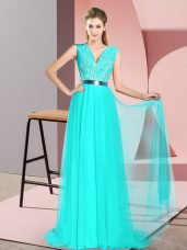 Turquoise Tulle Zipper V-neck Sleeveless Prom Gown Sweep Train Beading and Lace