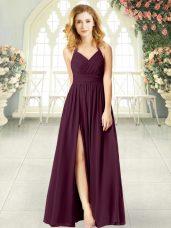 Halter Top Sleeveless Prom Dress Floor Length Ruching Burgundy Chiffon