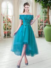 Teal Tulle Lace Up Party Dress for Girls Short Sleeves High Low Appliques