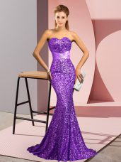 Purple Sequined Backless Prom Evening Gown Sleeveless Sweep Train Beading