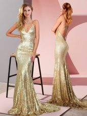 Sequined Sleeveless Evening Wear Sweep Train and Ruching