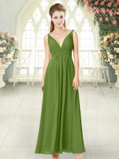 Olive Green V-neck Neckline Ruching Prom Dresses Sleeveless Backless