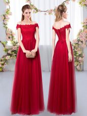 Fabulous Sleeveless Tulle Floor Length Lace Up Bridesmaids Dress in Wine Red with Lace