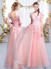 Admirable Pink V-neck Neckline Beading and Appliques Bridesmaid Gown Cap Sleeves Lace Up