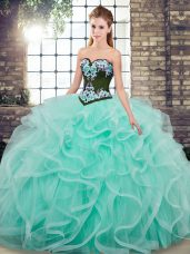 Tulle Sweetheart Sleeveless Sweep Train Lace Up Embroidery and Ruffles Sweet 16 Quinceanera Dress in Aqua Blue