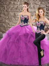 Purple Sweet 16 Quinceanera Dress Sweep Train Sleeveless Embroidery and Ruffles