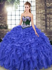 Sweetheart Sleeveless Quince Ball Gowns Sweep Train Embroidery and Ruffles Royal Blue Organza
