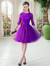 Half Sleeves Tulle Knee Length Zipper Prom Dresses in Purple with Lace