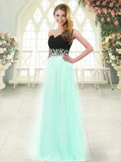 Appliques Prom Gown Apple Green Zipper Sleeveless Floor Length