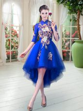 Royal Blue Half Sleeves Appliques High Low Prom Party Dress