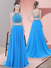 Charming Blue Sleeveless Chiffon Sweep Train Backless Evening Dresses for Prom and Party