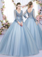 Floor Length Blue 15th Birthday Dress V-neck Long Sleeves Lace Up