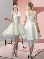 Great High Low White Evening Dress Tulle Sleeveless Lace and Bowknot