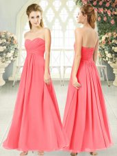 Watermelon Red Empire Ruching Dress for Prom Zipper Chiffon Sleeveless Ankle Length