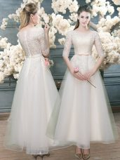 Organza Half Sleeves Prom Gown and Lace