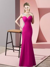 Low Price Floor Length Zipper Fuchsia for Prom and Party and Military Ball with Beading