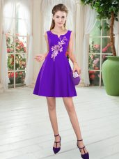 Sleeveless Mini Length Appliques Zipper Prom Evening Gown with Purple