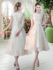 Fashionable Champagne Tulle Lace Up Scoop 3 4 Length Sleeve Tea Length Party Dress Wholesale Lace