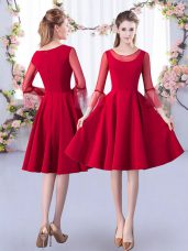 Ruching Wedding Guest Dresses Red Zipper 3 4 Length Sleeve Knee Length