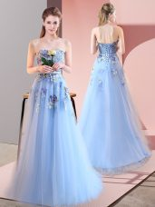 Pretty Floor Length Lace Up Dress for Prom Blue for Prom and Party with Appliques