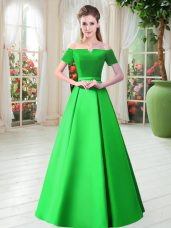 Green A-line Off The Shoulder Short Sleeves Satin Floor Length Lace Up Belt Evening Dress