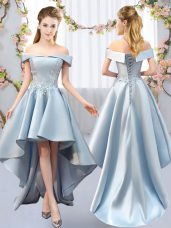 Charming Sleeveless Satin High Low Lace Up Damas Dress in Light Blue with Appliques