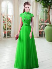 Floor Length Lace Up Evening Dress for Prom with Appliques
