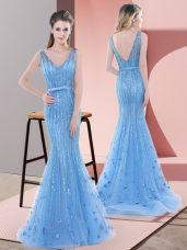 Custom Design Baby Blue Prom Party Dress Prom and Party and Military Ball with Beading and Sequins V-neck Sleeveless Sweep Train Backless
